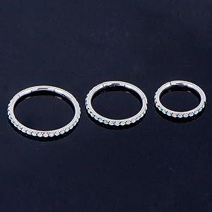 white Opal cartilage earrings