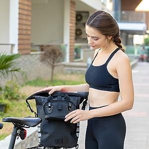 Gepäckträgertasche für Fahrrad Rucksack Gepäckträger Khalisia Blau Damen Rucksack Wasserdicht klein