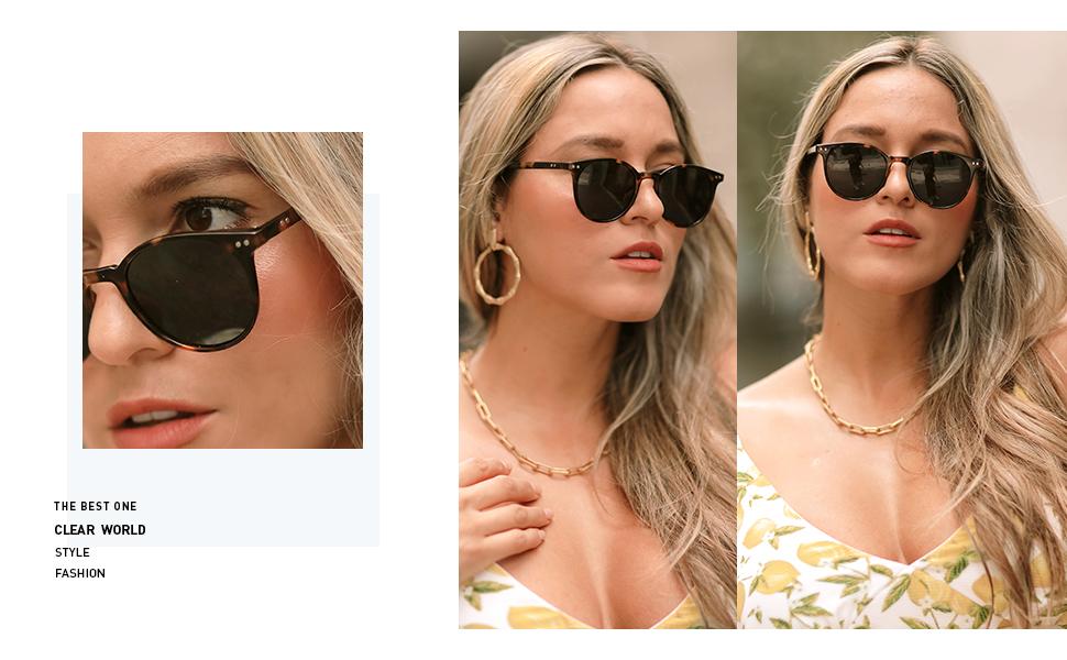 SOJOS Occhiali da sole polarizzati per donna Uomo Rotondo Classico Stile Vintage SJ2091