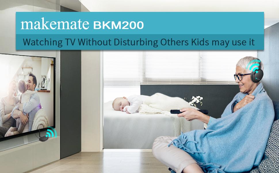 makemate BKM200 wireless tv headphones