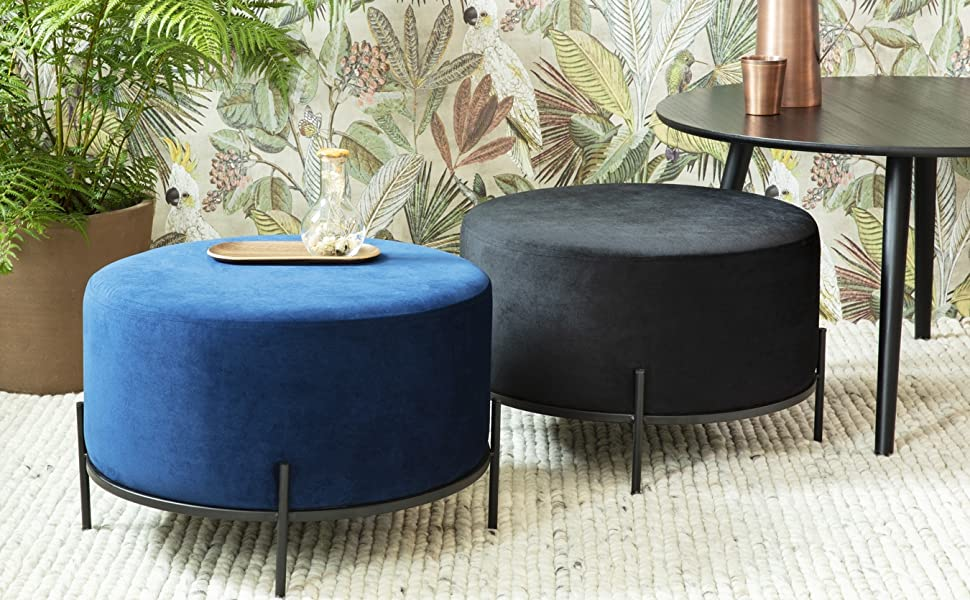 Modern Round Ottoman Upholstered Dressing Pouf Light Grey 30x38 cm LIFA LIVING Footstools Velvet Pouffe with Gold Metal Rim Foot Stool Poofe Chair Rest for Living Room Office /& Bedroom