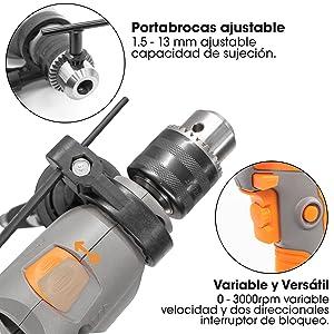 Terratek 810W Taladro Percutor 3000RPM Taladro El/éctrico