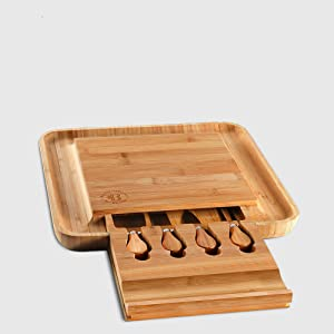 bamboo cheese boars set with utensils