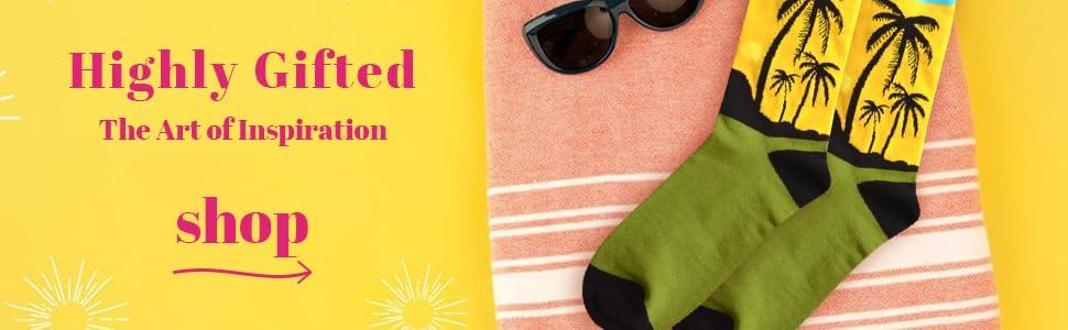 palm tree beach Hawaii pattern dress socks