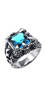 PAMTIER Men's Stainless Steel Vintage Dragon Claw Suqare Gemstone Biker Ring