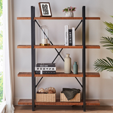 HSH Solid Wood Bookshelf, 4 Tier Rustic Vintage Industrial Etagere Bookcase,Distressed Brown