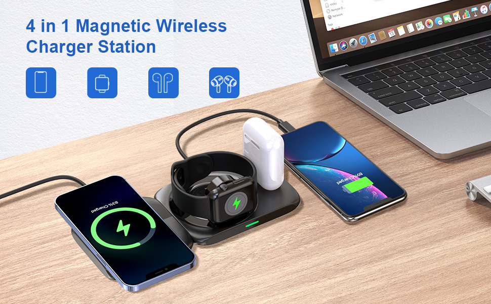 magnetic wireless charger station