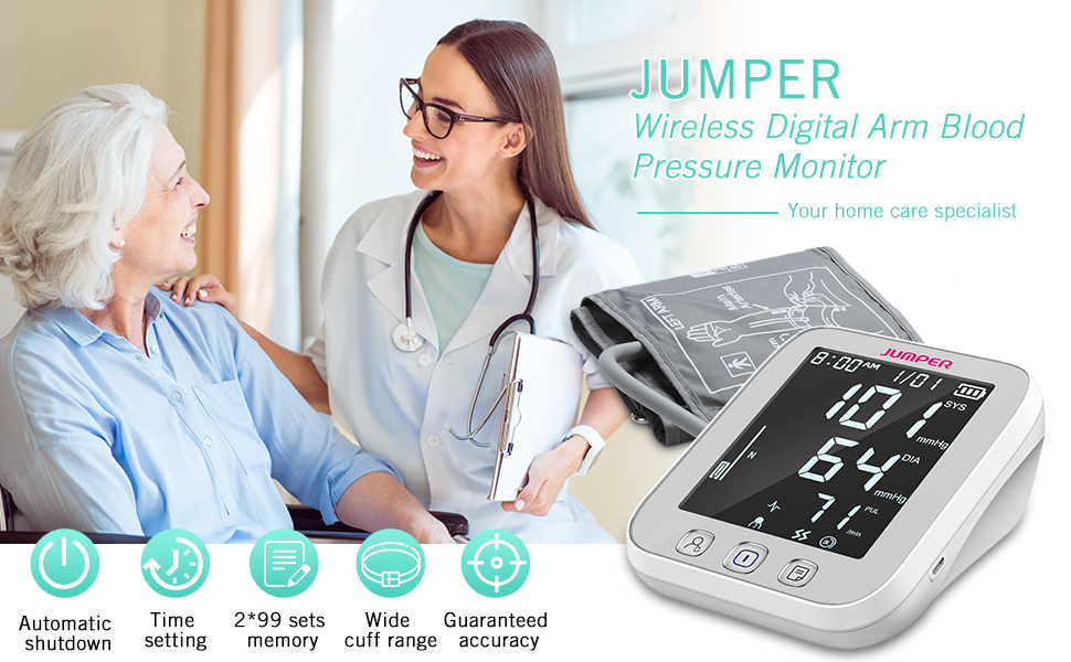 JUMPER Upper Arm Blood Pressure Monitor can determine heart function and peripheral