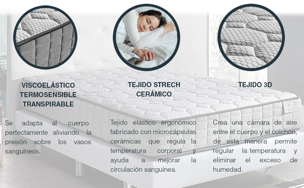 TECNOCOLCHÓN - 🛌💤 Colchón Viscoelástico Memory Sens Visco   180 x 200 cm y 22 cm de Altura   Reversible Verano-Invierno   Certificado Oeko-Tex   ...