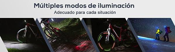 GHB Foco Bicicleta Luces para Bicicleta Impermeable IPX-5 9LED T6 ...