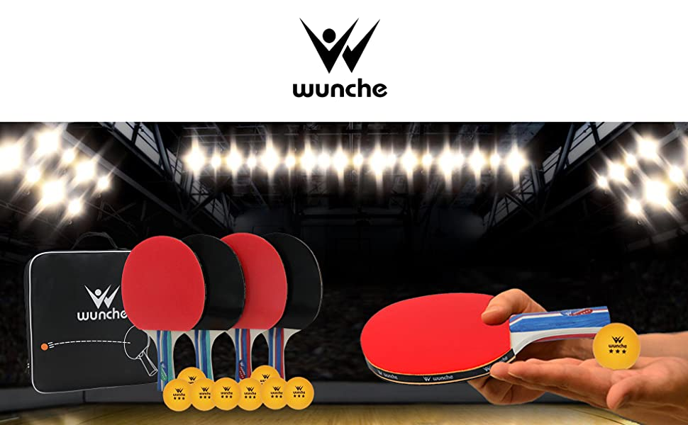 table tennis rackets set 4 pack