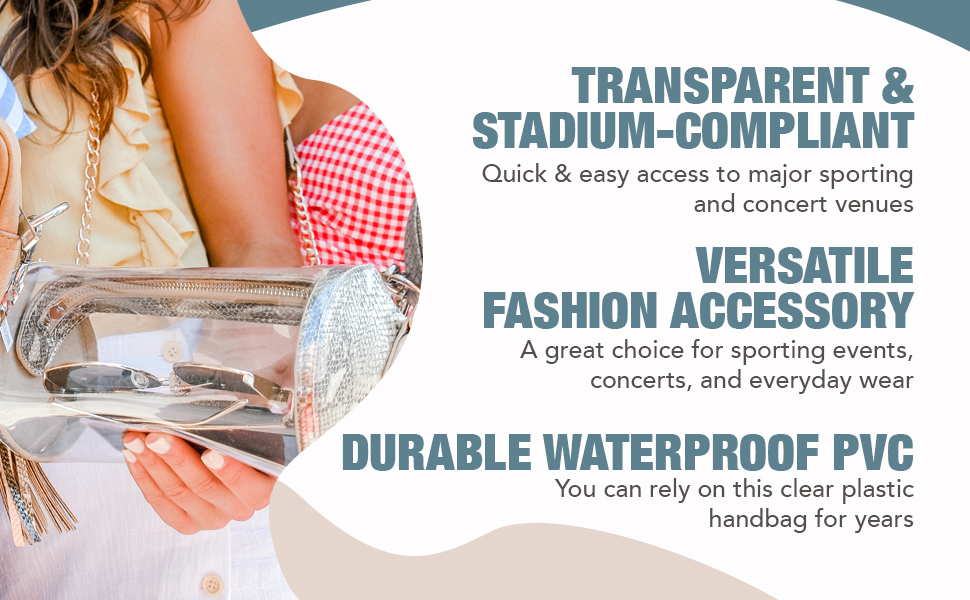 Clarity Handbags Darcy Clear Womens Bag for Professional & College Sporting Events Clear Bag Stadium Policy Approved