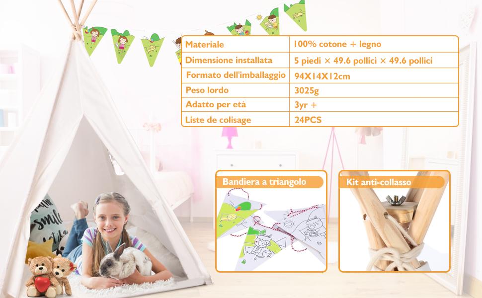 Peradix Tenda da Gioco Indiana per Bambini, Tenda Teepee Pieghevole con Finestra, Tappeto, Bandiere Decorative, Borsa da Trasporto per attività