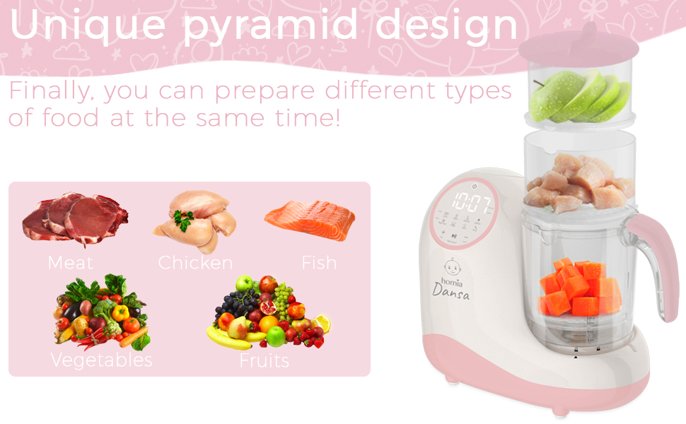 homia dansa baby food maker - Baby Food Maker Chopper Grinder - Mills And Steamer 8 In 1 Processor For Toddlers - Steam, Blend, Chop, Disinfect, Clean, 20 Oz Tritan Stirring Cup, Touch Control Panel, Auto Shut-Off, 110V Only