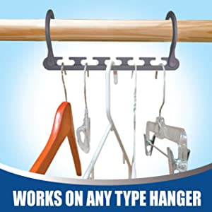 Different types of hangers made of wood, plastic and wire are all hanging on wooden closet rod.