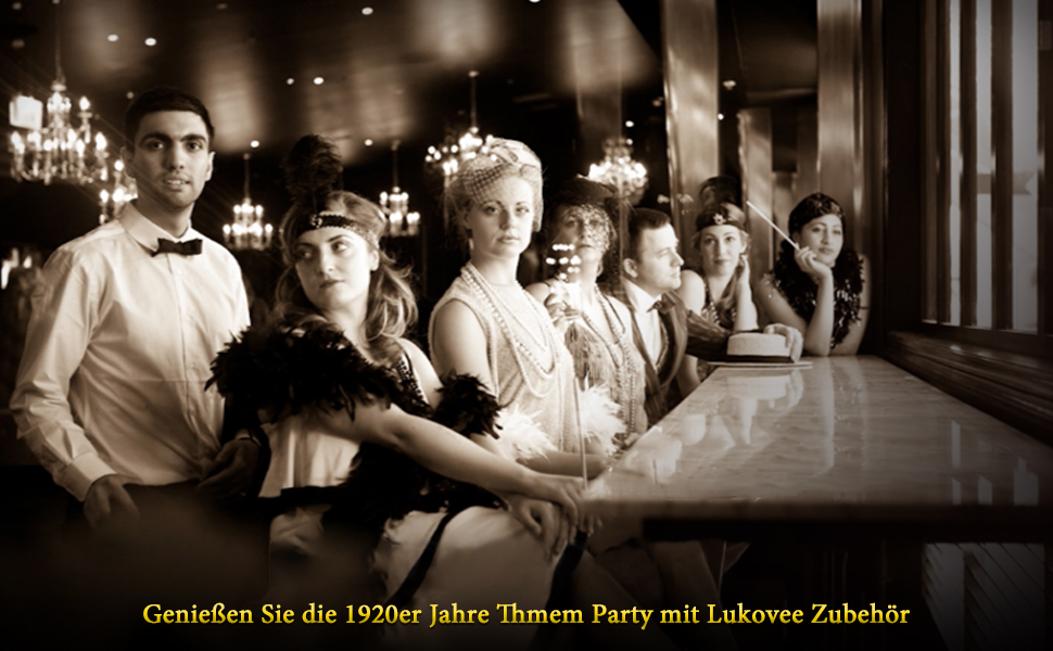 Beelittle 1922er Jahre Zubeh/ör Set Flapper Stirnband Halskette Zigarettenspitze Great Gatsby Zubeh/ör f/ür Frauen Handschuhe