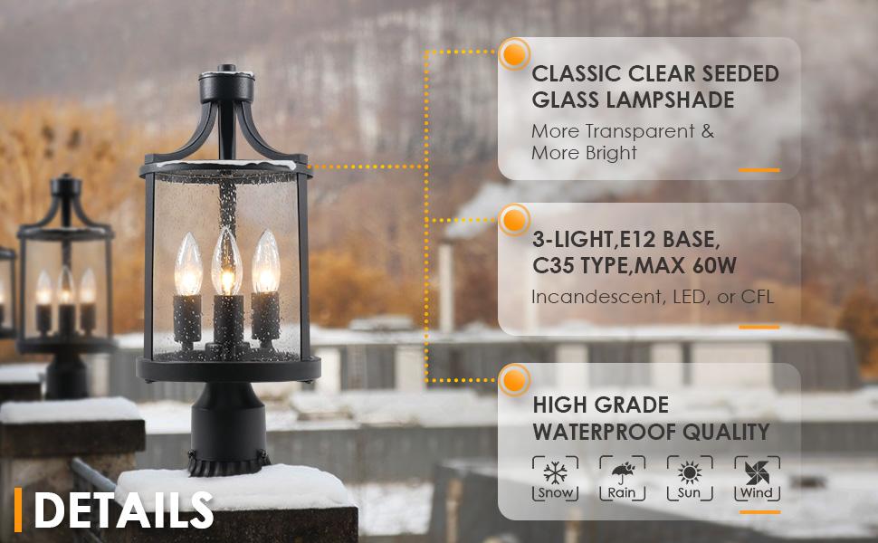 osimir outdoor post light details