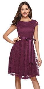 BeryLove Women's Floral Lace Short Bridesmaid Dress Cocktail Party Dress