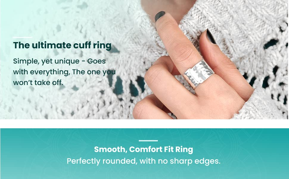 SILBERTALE 14mm Wide 925 Sterling Silver Plain Big Adjustable Open Finger Ring Cuff Thumb Ring Band