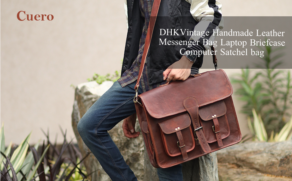 Cuero Handmade craft vintage messenger bag for laptop sachtel brief case leather bag SPN-DCON