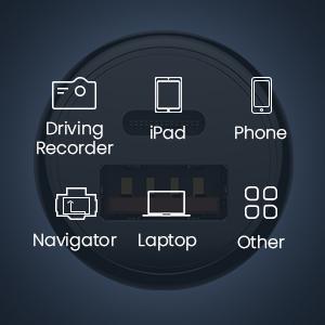 dual usb c car charger fast charge iPhone 11/11Pro/11Pro Max/X/Xs/Xs Max/8/8Plus, Pixel 3XL/2Xl