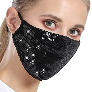 sparkly face mask For women  glitter face mask Black Sequin mask for Women Sequined face Mask