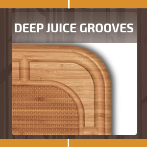 chopping board with deep juice grooves