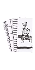 Stacked Farm Animals Black White Linen Towels Dish