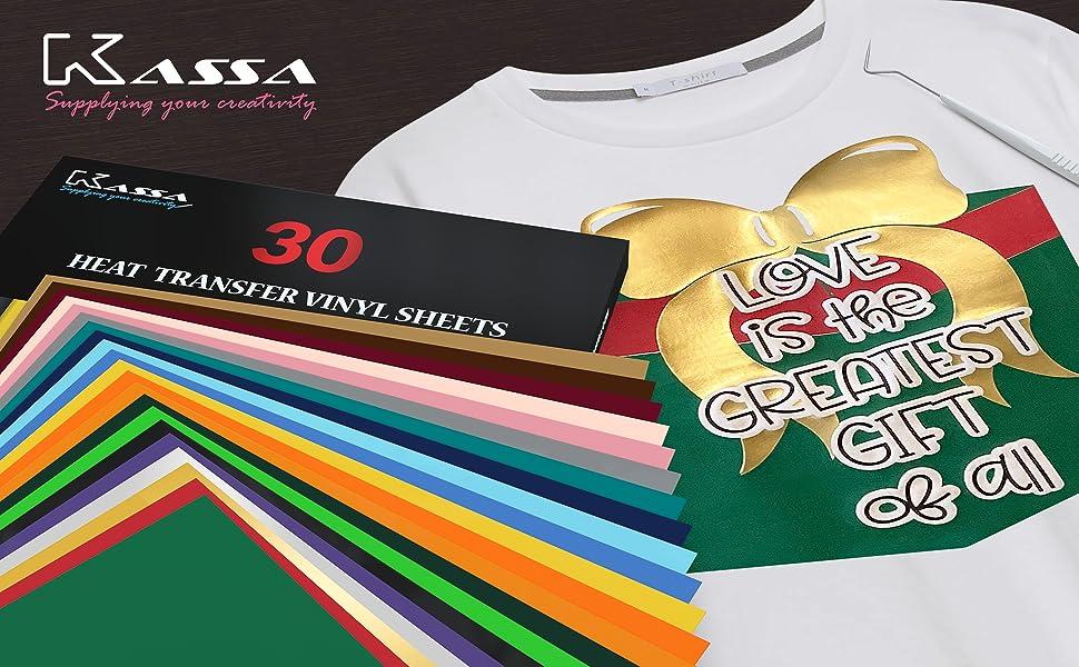kassa colorful heat transfer vinyl bundle iron on craft project for tshirt