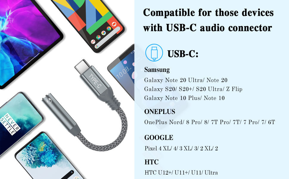 USB C to 3.5mm Aux Cable