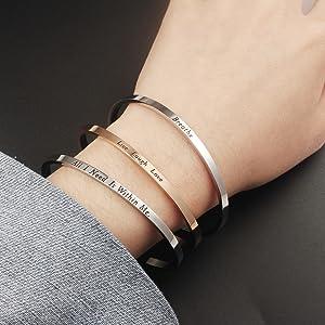 LADEMAYH Mantra Bracelets Inspirational Stainless Steel Engraved Bracelet for Women