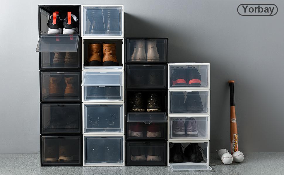 14.5 cm 33.5 3 Pezzi 23 nobrand Scatole Scarpe Shoe Box Contenitori per Scarpe Pieghevole Trasparente Impilabile Rimovibili Plastica Contenitore Riutilizzabile