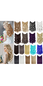 Curly Straight Invisible Hidden Wire Synthetic Hair Extensions