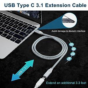 Câble d'extension USB C
