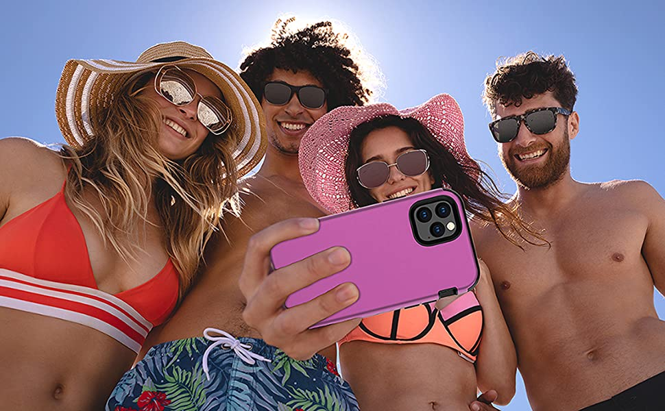 """People taking a selfie with a Kit Me Out World heavy duty phone case Apple iPhone 11 Pro 5.8"""" Inch"""