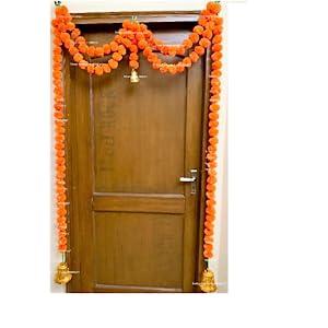 orange genda sphinx marigold flowers door toran