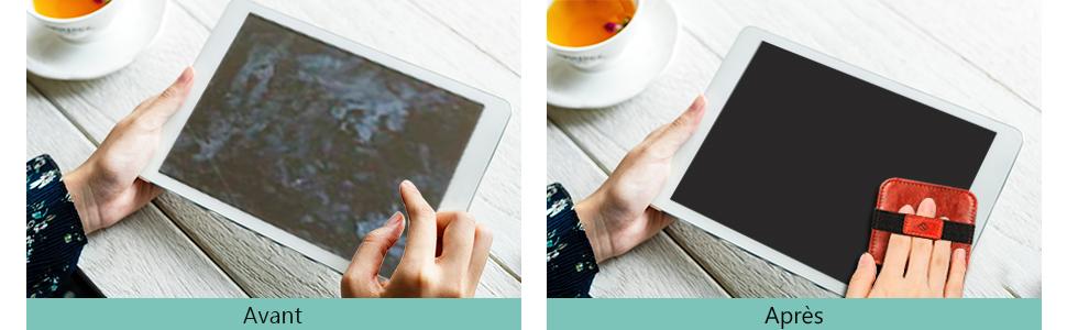 FINTIE Nettoyage /Écran Pads pour iPad /Écran dordinateur Portable /Écrans de T/él/évision Switch iPhone Nettoyant avec Sangle /Élastique pour T/él/éphone Tablette Appareil Photo MacBook Lot de 4