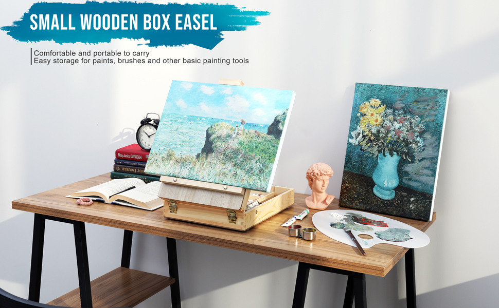 WELLAND Small Wooden Box Easel, Portable Desktop Easel for Painting