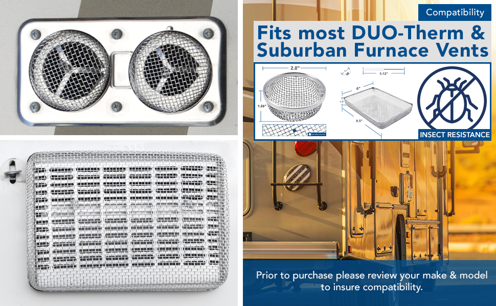 RV Insect Screen Stainless Steel Mesh Suburban Furnace Duo Therm Vents