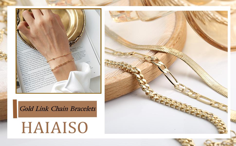 layered link bracelets for women