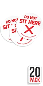 Sit here Social distancing Stickers