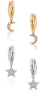 Rhinestone Stud Earrings - Simulated Diamond Round Hoop Studs in CZ Crystal Pave Posts