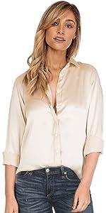 silk shirt satin blouse charmeuse top shirts blouses women