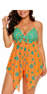 Sexy Halter Patchwork Printed Open Back Tankini Top Set Two Piece Swimsuits