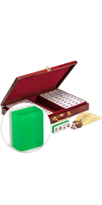 """Chinese Mahjong Set, """"Emerald"""" with Translucent Green Tiles"""
