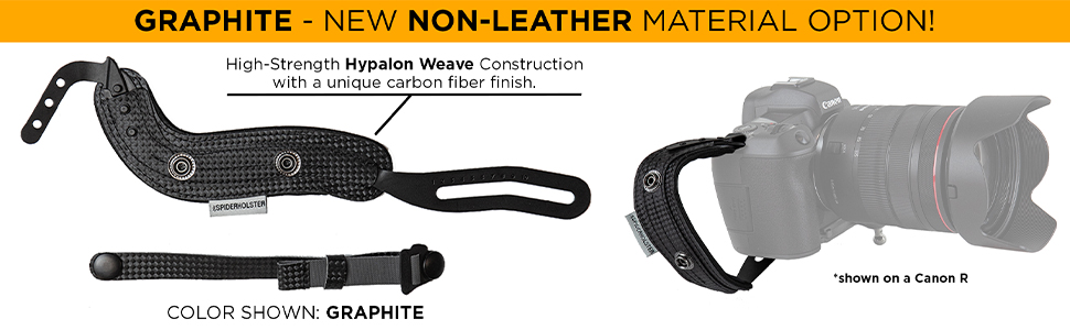 SpiderPro Hand Strap v2 is available in an all new Non-Leather material option. Color Graphite