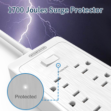 12 outlets power strip flat plug