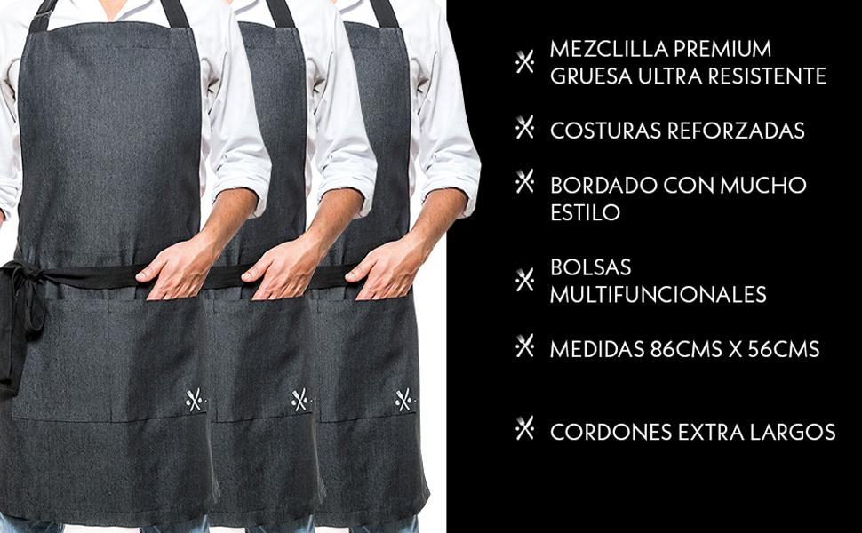 3 pack mandiles delantales para restaurante parrilla grill mesero cocinero peluquero mezclilla