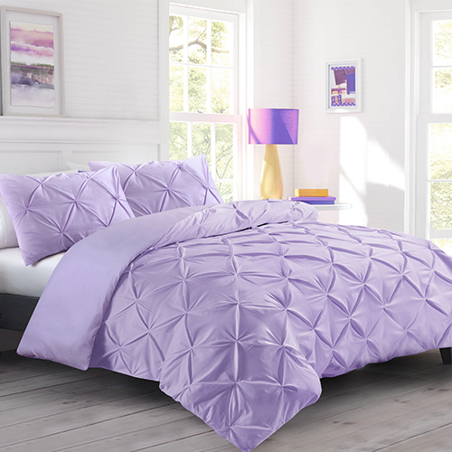 K A Pintuck Pinch Pleat Duvet Cover Bedding Set With Zipper Closure Including 2 Pillowcases Ultrasoft Brushed Microfibre Easy Care Machine Washable Double Purple Lilac Amazon Co Uk Kitchen Home