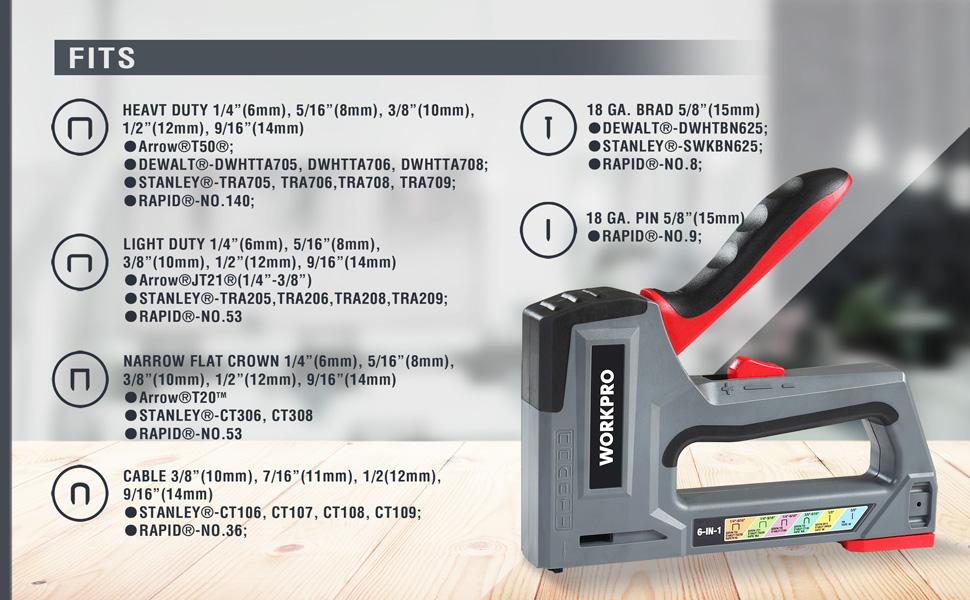 WORKPRO Grapadora y Clavadora Manual 6 en 1, Grapadora de Tapicería, Ideal para material de Fijación, Decoración, Carpintería, Muebles, Puertas y ...